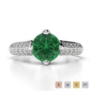 Gold / Platinum Round Cut Emerald and Diamond Engagement Ring AGDR-1205