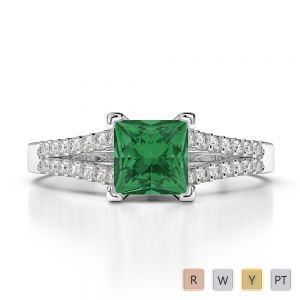 Gold / Platinum Round and Princess Cut Emerald and Diamond Engagement Ring AGDR-1211