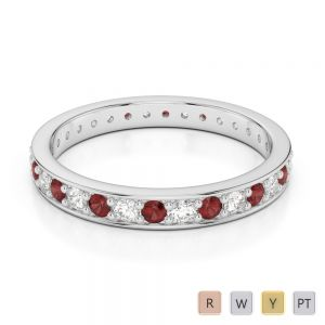 2.5 MM Gold / Platinum Round Cut Garnet and Diamond Full Eternity Ring AGDR-1079