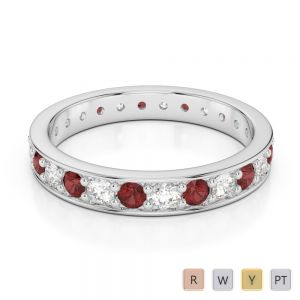 3 MM Gold / Platinum Round Cut Garnet and Diamond Full Eternity Ring AGDR-1080