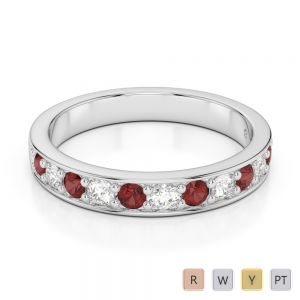 3 MM Gold / Platinum Round Cut Garnet and Diamond Half Eternity Ring AGDR-1084