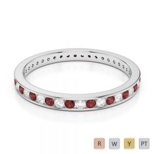 Gold / Platinum Round Cut Garnet and Diamond Full Eternity Ring AGDR-1086