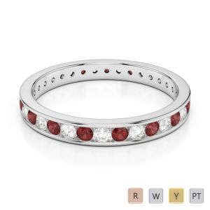 3 MM Gold / Platinum Round Cut Garnet and Diamond Full Eternity Ring AGDR-1087