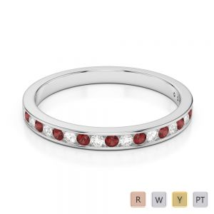 Gold / Platinum Round Cut Garnet and Diamond Half Eternity Ring AGDR-1089