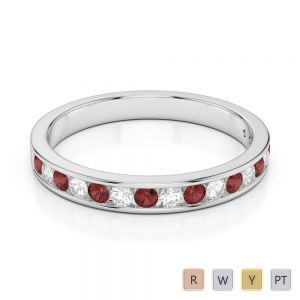 3 MM Gold / Platinum Round Cut Garnet and Diamond Half Eternity Ring AGDR-1090
