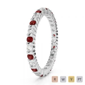 2 MM Gold / Platinum Round Cut Garnet and Diamond Full Eternity Ring AGDR-1092