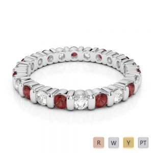 Gold / Platinum Round Cut Garnet and Diamond Full Eternity Ring AGDR-1093