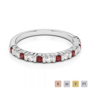 2 MM Gold / Platinum Round Cut Garnet and Diamond Half Eternity Ring AGDR-1095