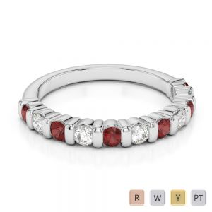 2.5 MM Gold / Platinum Round Cut Garnet and Diamond Half Eternity Ring AGDR-1096