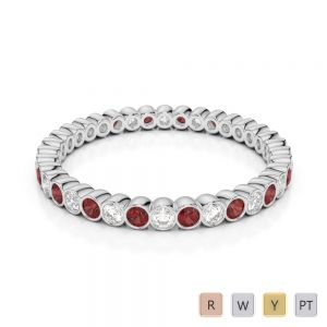 2 MM Gold / Platinum Round Cut Garnet and Diamond Full Eternity Ring AGDR-1098