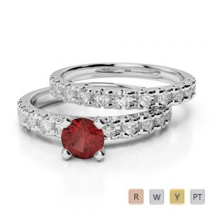 Gold / Platinum Round cut Garnet and Diamond Bridal Set Ring AGDR-1144