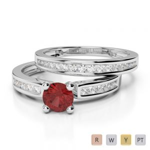Gold / Platinum Round cut Garnet and Diamond Bridal Set Ring AGDR-1157