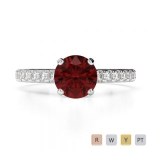 Gold / Platinum Round Cut Garnet and Diamond Engagement Ring AGDR-1201