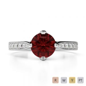 Gold / Platinum Round Cut Garnet and Diamond Engagement Ring AGDR-1204