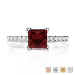 Gold / Platinum Round and Princess Cut Garnet and Diamond Engagement Ring AGDR-1210