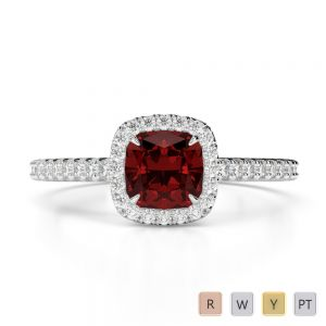 Gold / Platinum Round and Cushion Cut Garnet and Diamond Engagement Ring AGDR-1212
