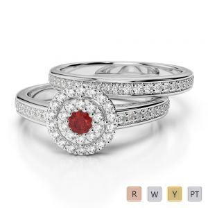 Gold / Platinum Round cut Garnet and Diamond Bridal Set Ring AGDR-1239