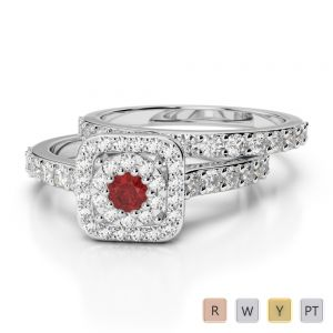 Gold / Platinum Round cut Garnet and Diamond Bridal Set Ring AGDR-1246