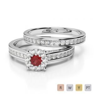 Gold / Platinum Round cut Garnet and Diamond Bridal Set Ring AGDR-1339