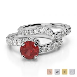 Gold / Platinum Round cut Garnet and Diamond Bridal Set Ring AGDR-2003