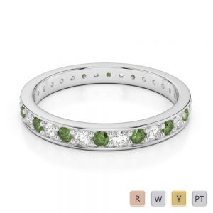 2.5 MM Gold / Platinum Round Cut Green Tourmaline and Diamond Full Eternity Ring AGDR-1079