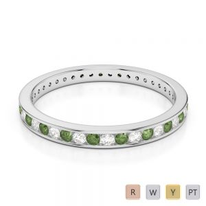2.5 MM Gold / Platinum Round Cut Green Tourmaline and Diamond Full Eternity Ring AGDR-1086
