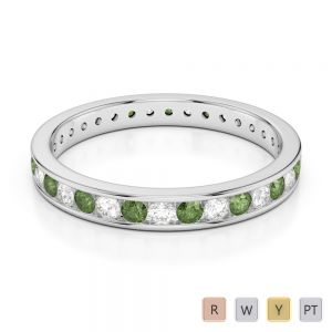 3 MM Gold / Platinum Round Cut Green Tourmaline and Diamond Full Eternity Ring AGDR-1087