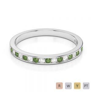2.5 MM Gold / Platinum Round Cut Green Tourmaline and Diamond Half Eternity Ring AGDR-1089