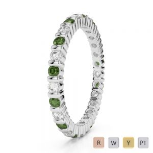 Gold / Platinum Round Cut Green Tourmaline and Diamond Full Eternity Ring AGDR-1092