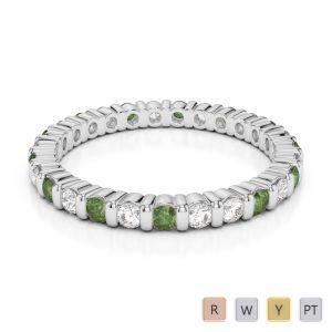 2 MM Gold / Platinum Round Cut Green Tourmaline and Diamond Full Eternity Ring AGDR-1092
