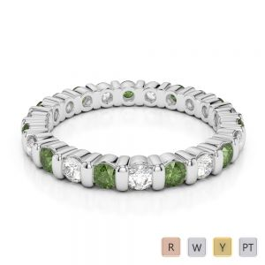 2.5 MM Gold / Platinum Round Cut Green Tourmaline and Diamond Full Eternity Ring AGDR-1093