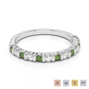2 MM Gold / Platinum Round Cut Green Tourmaline and Diamond Half Eternity Ring AGDR-1095