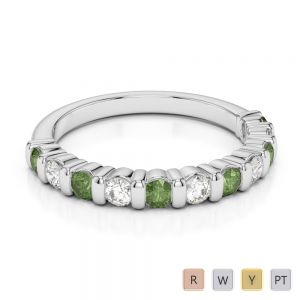 2.5 MM Gold / Platinum Round Cut Green Tourmaline and Diamond Half Eternity Ring AGDR-1096