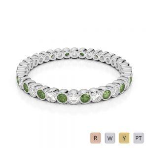 2 MM Gold / Platinum Round Cut Green Tourmaline and Diamond Full Eternity Ring AGDR-1098