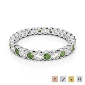 2.5 MM Gold / Platinum Round Cut Green Tourmaline and Diamond Full Eternity Ring AGDR-1099