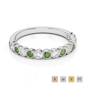 2.5 MM Gold / Platinum Round Cut Green Tourmaline and Diamond Half Eternity Ring AGDR-1102