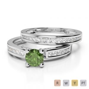 Gold / Platinum Round cut Green Tourmaline and Diamond Bridal Set Ring AGDR-1157