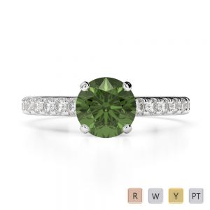 Gold / Platinum Round Cut Green Tourmaline and Diamond Engagement Ring AGDR-1201