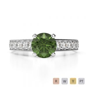 Gold / Platinum Round Cut Green Tourmaline and Diamond Engagement Ring AGDR-1202