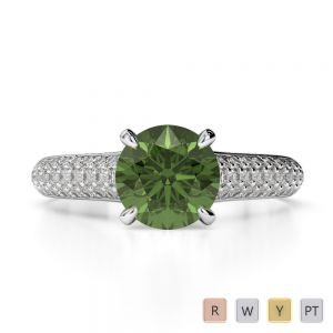 Gold / Platinum Round Cut Green Tourmaline and Diamond Engagement Ring AGDR-1203