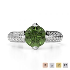 Gold / Platinum Round Cut Green Tourmaline and Diamond Engagement Ring AGDR-1205