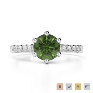 Gold / Platinum Round Cut Green Tourmaline and Diamond Engagement Ring AGDR-1208