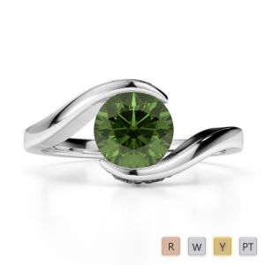 Gold / Platinum Round Cut Green Tourmaline and Diamond Engagement Ring AGDR-1209