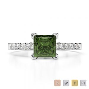Gold / Platinum Round and Princess Cut Green Tourmaline and Diamond Engagement Ring AGDR-1210