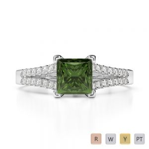 Gold / Platinum Round and Princess Cut Green Tourmaline and Diamond Engagement Ring AGDR-1211