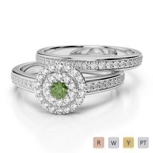 Gold / Platinum Round cut Green Tourmaline and Diamond Bridal Set Ring AGDR-1239