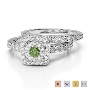 Gold / Platinum Round cut Green Tourmaline and Diamond Bridal Set Ring AGDR-1246