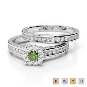 Gold / Platinum Round cut Green Tourmaline and Diamond Bridal Set Ring AGDR-1339
