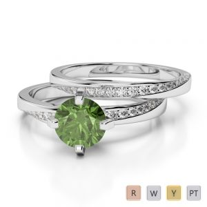 Gold / Platinum Round cut Green Tourmaline and Diamond Bridal Set Ring AGDR-2001