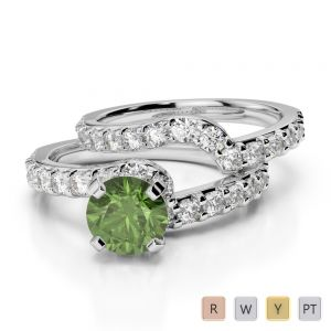 Gold / Platinum Round cut Green Tourmaline and Diamond Bridal Set Ring AGDR-2003
